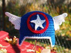 Crochet Captain America Hat by OopsyDaisyBB on Etsy, $25.00