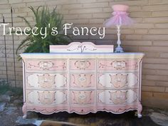 Furniture, Dresser, Painted, changing table, french provincial, buffet, Tracey's Fancy, shabby, custom dresser, baby nursery, girl boy, vintage, cottage chest, pink, purple, posh