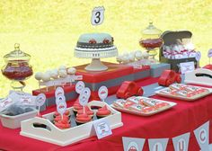 Little Red Car Themed Dessert Table