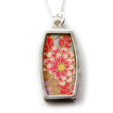 Washi Paper Necklace-Small Barrel $52.00