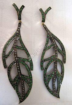 Rose Cut Diamond Leaf Earrings
