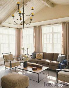 coffee tables, living rooms, window, color, wood ceilings, hous, clean lines, vaulted ceilings, live room