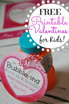 """Free Kids Printable Valentines Using Bubbles! """"I'm Bubble-ing with Joy that we are friends"""" - Great Non Sweet Valentines Idea."""
