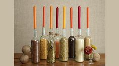 food network, wine bottle decorations, decorating ideas, candle holders, thanksgiving centerpieces, holiday tabl, thanksgiving table, wine bottles, diy centerpieces