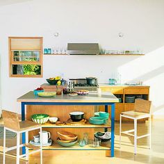 Bright kitchen island