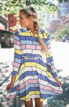 Barefoot Blonde: pastel, brick dress