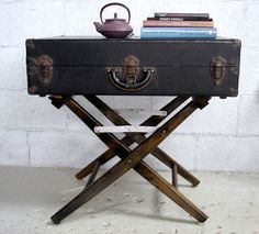 vintage suitcase side table