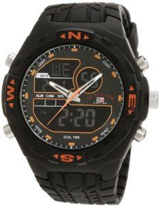 #9: U.S. Polo Assn. Men's US9059 Analog-Digital Black Dial Black Rubber Strap Watch
