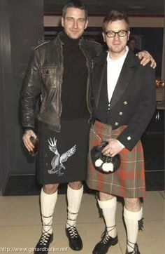 Gerard Butler and Ewan McGregor in kilts. Yep. All is right with the world.