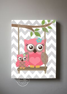 Owl Decor Girls wall art  OWL canvas art Baby Nursery by MuralMAX, $51.00