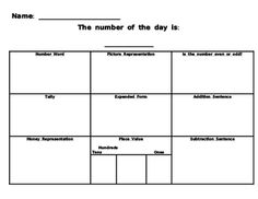 Number fluency page...students can complete daily