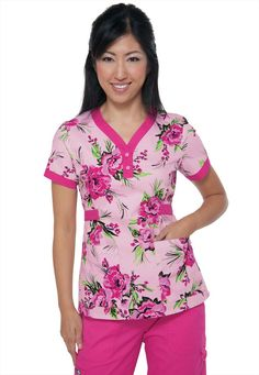 Koi Kourtney Brightside Flamingo print scrub top. - Scrubs and Beyond #pink #print #scrubs #top #medical #uniform #nurse