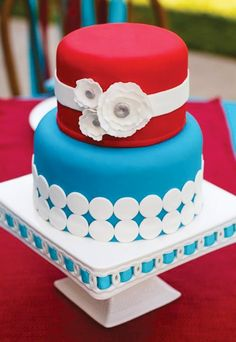 Red & Turquoise Cake... Wedding ideas for brides, grooms, parents & planners ... https://itunes.apple.com/us/app/the-gold-wedding-planner/id498112599?ls=1=8 … plus how to organise an entire wedding ♥ The Gold Wedding Planner iPhone App ♥ http://pinterest.com/groomsandbrides/boards/