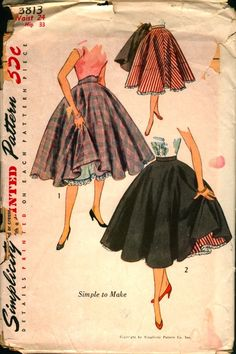 Simplicity 3813; ©1951; Misses' Full Circle Skirt and Separate Petticoat: This billowing skirt is a complete circle. View 1: The wide waistband is high and shaped at the front. View 2 is styled with a narrow straight waistband. The flared petticoat, to wear under the circular skirt, is four gored and has a deep crinoline facing with a pleated ruffle at the lower edge.