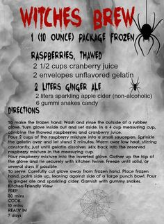 Free Printables - Witches brew recipe great for a Halloween party