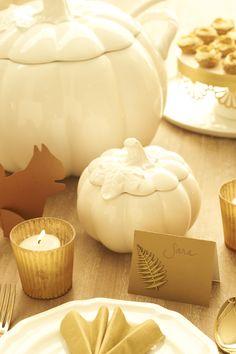 Martha Stewart for Macy's pumpkin tureens, Martha Stewart Crafts metal fern sticker, Paper Source squirrel and paper