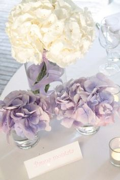 White and pale purple hydrangea wedding decor.