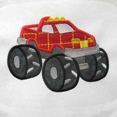Monster Truck Embroidered and Applique Quilt Block $8