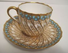 Masculine Elegance... For the men!  Copeland Demi Cabinet Style Gold Swirls Florals Cup & Saucer White Jewels