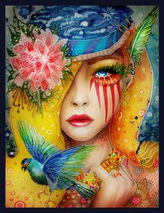 wall art, fantasi, colors, digital art, art faces, artist, josephine wall, paintings, hippie art