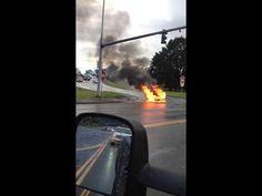Tesla car on fire