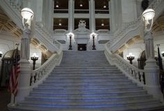 "The ""imperial staircase"" in the Rotunda of the Pennsylvania State Capitol"