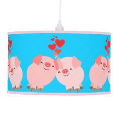 Cute Cartoon Pigs in Love Pendant Lamp #lamp #pendant #pigs #cute #cartoon #pigs #customizable #cheerfulmadness #kawaii