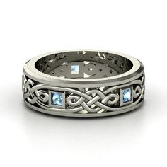 Alhambra Knot Band, Men's  Sterling Silver Ring with Blue Topaz from Gemvara