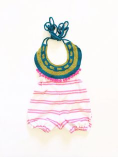 Terry cloth pink and white stripes beach romper