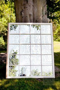 Table seating chart printed on a mullioned mirror. Cute!