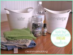 It doesn't get much easier than this! Effective, inexpensive and lightly scented with essential oil to brighten up your hardwood floors. Washing Hardwood Floors with Vinegar via Clean Mama.