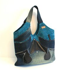 One of a kind, Recycled teal and denim tote bag, applique front details, bright and standout.