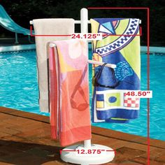 Freestanding PVC Towel Rack for Swimming Pool Indoor Outdoor Spa Shower Hot Tub