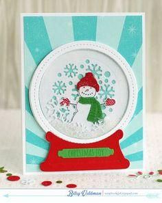Snowman Snow Globe Card by Betsy Veldman for Papertrey Ink (September 2014)