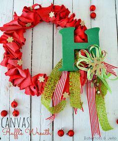 Holiday Canvas Ruffle Wreath {via Tatertots and Jello}