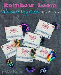 valentin card, holiday, rainbow loom, craft, valentine day cards, rainbows, free printabl, loom valentin, find