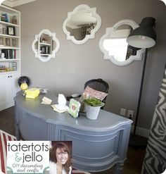 Love the unique desk & multiple mirrors! The House of Smiths - Home DIY Blog Decorating on a Budget Blog  Rm by tatertots & jello