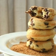 These Banana Chocolate Chip Baked Doughnuts are the perfect snack...made with greek yogurt