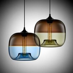 Modern Encalmo-Stamen Pendant Lights in Chocolate-Sapphire and Chocolate-Smoke
