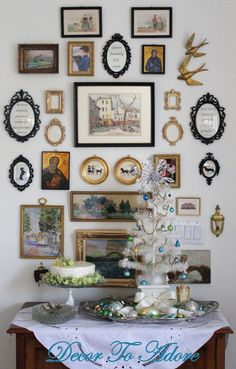 ❥ Gallery wall - mix of colors, quotes and silhouettes
