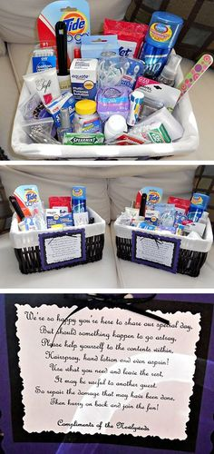 What A Great Idea...Leave This Basket In The Bathroom(s) With Various Items For Those Unexpected Moments That Could Ruin An Invited Guest`sFun...The Guest Can, Fix Or Repair Something(Like A Sudden Stain, A Headache, Etc...)...Then The Guest Can Get Back To The Fun Without Missing A Beat...Click On Picture For Ideas Of Items You Can Put Together...