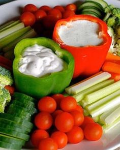 Recipe party vegetable tray and dips.../