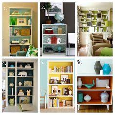 bookshelf makeover, bookshelf idea, living rooms, bookcas idea, paint bookcas, bookcas display, apart, bright colors, painted bookcase ideas