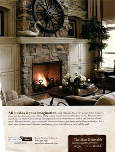 Built-ins with stone fireplace