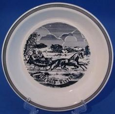 Currier & Ives Blue & White Pie Plate The Road - Winter
