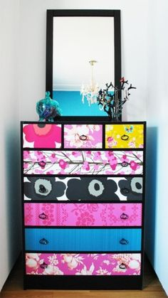 An easy way to add color to your bedroom when you can't paint the walls! #dresser #bedroom #color #DIY #decor #decorating #apartment