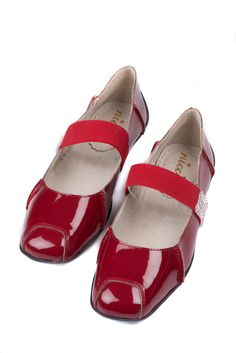 Red babydoll Diamante shoes at #NICCI
