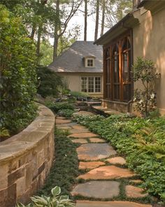 Love the stone walkway and the screened porch!