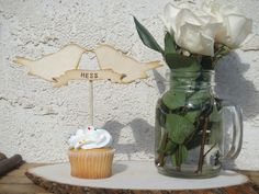Rustic Love Birds with Banner Cake Topper by PNZ Designs. $19.50, via Etsy.