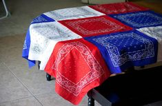 Patriotic Bandana Tablecloth  (My Insanity Blog) holiday, bandana tablecloth, craft, fourth of july, picnic tables, red white blue, 4th of july, table runners, themed parties